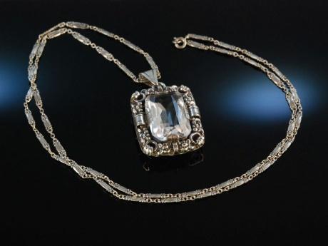 Um 1930 Großer Anhänger Mit Kette Bergkristall Silber 835