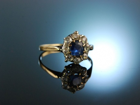 Graz um 1890! Antiker Verlobungs Engagement Ring Saphir Diamanten Gold 585