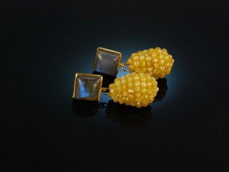 Fine Yellow! Schicke Ohrringe Silber 925 vergoldet Labradorit und Gelb Achat Tropfen
