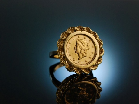 One USA Gold Dollar 1853! Seltener Münz Ring Gold 585 und Gold 900
