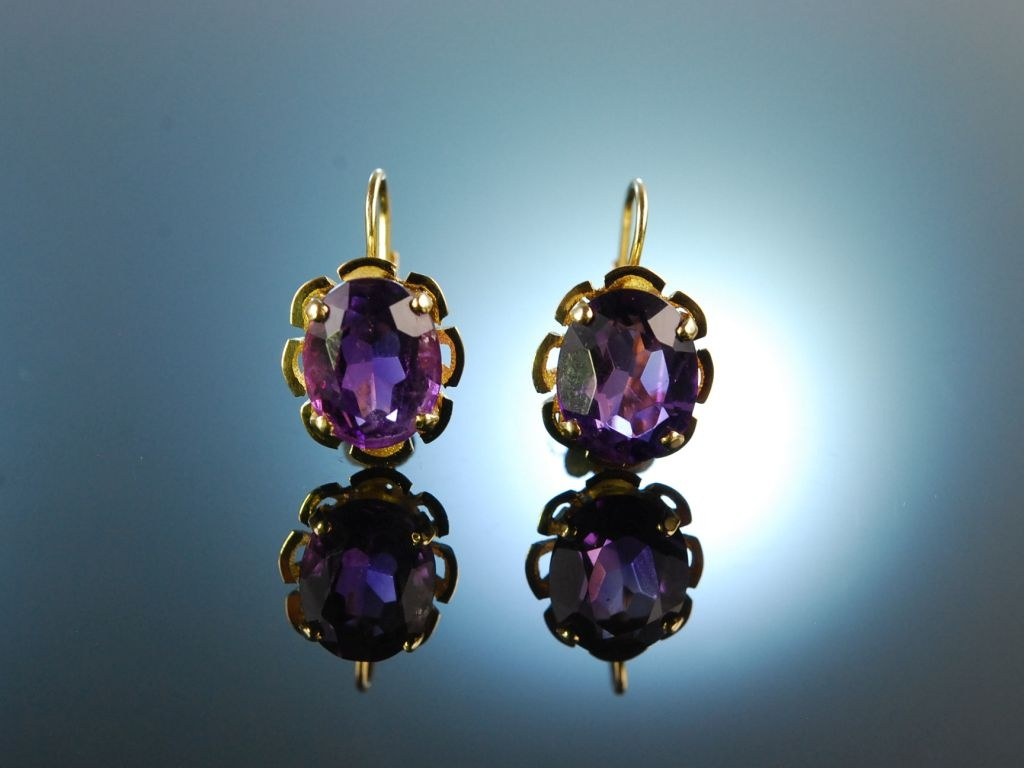 35mmTopChic Exzellent Amethyst Lila violett Zirkon Ohrringe Gold 18K 750pl