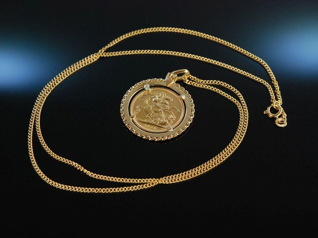 Sovereign Gratia Regina Elizabeth Schöne Kette Mit Gold Mü