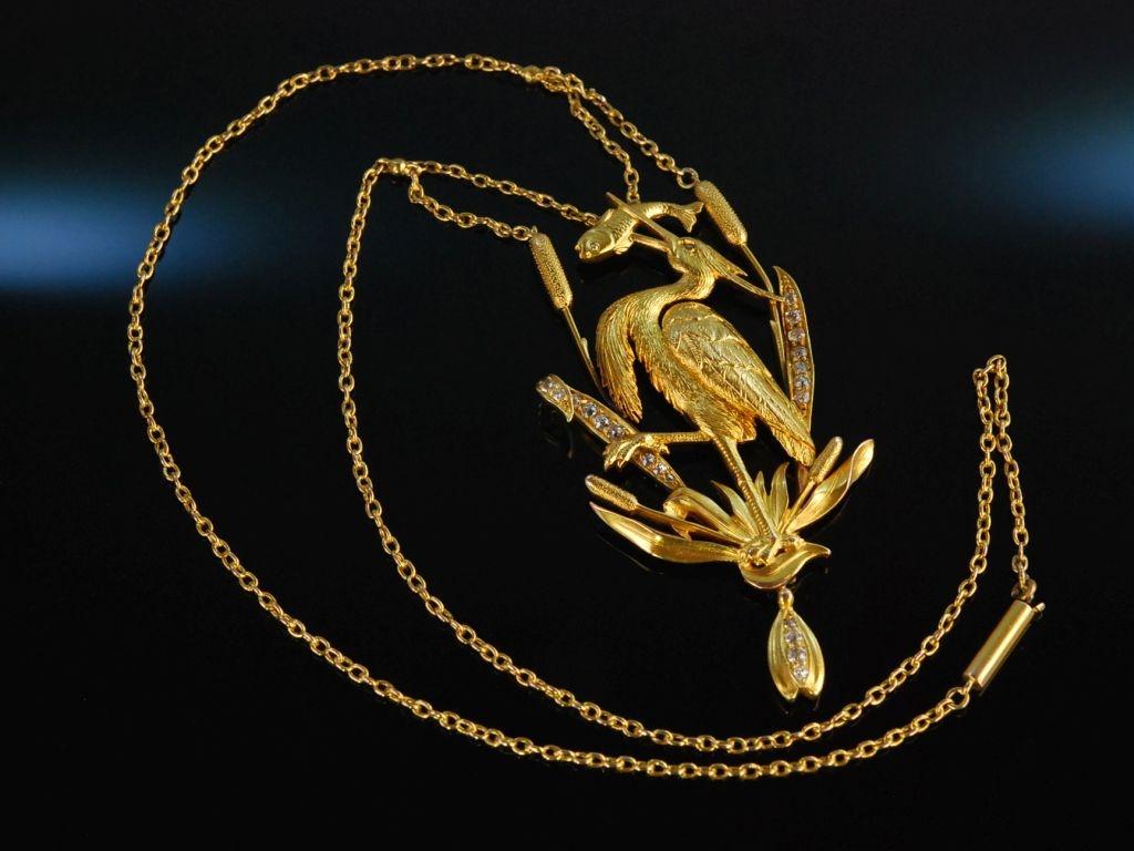 Art Nouveau Jugendstil um 1900! Traum Kette Kranich um 1900 Gold 585 Diamanten