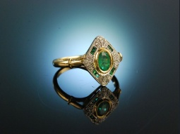 Green Emerald! Ring Gold 750...