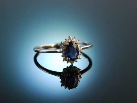 For you! Klassischer Diamant Verlobungs Freundschafts Ring Gold 750 Saphir Brillanten