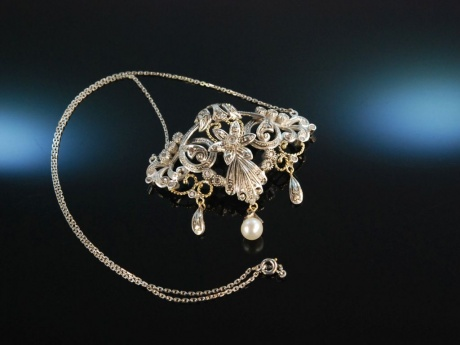 Antique Style! Collier mit Diamantrosen an Platinkette Silber goldverbödet Zuchtperle