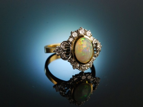 Vintage Love! Exquisiter Opal Diamant Ring Gold 750