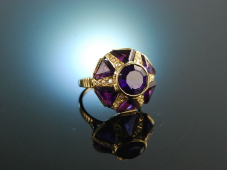 Violet Dream! Großer Cocktail Ring Amethyst Saatperlen...