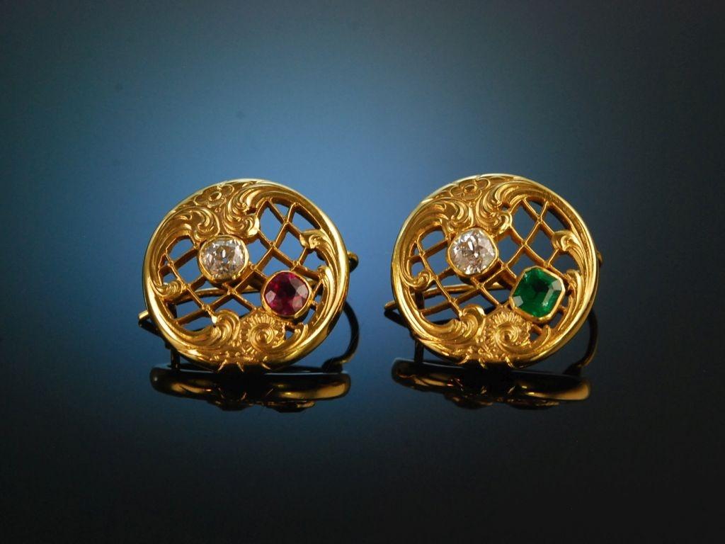 Um 1900 Historische Ohrringe Gold 750 Rubin Smaragd