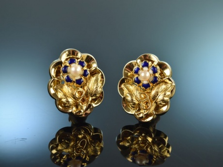 Frankfurt um 1850! Schöne Biedermeier Ohrringe Gold 585