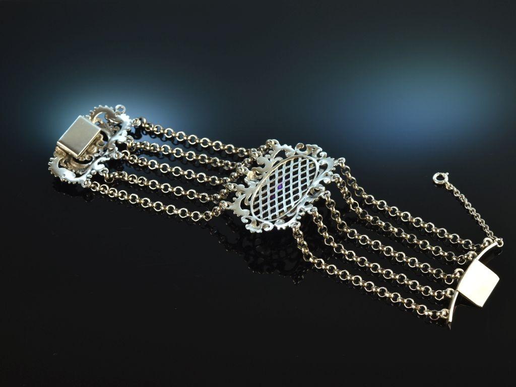 Garmisch um 1950! Hübsches großes Trachten Armband Amethyst