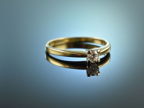 Classy Diamond! Feiner Vintage Diamant Verlobungs Ring 0,15 ct Gold 585