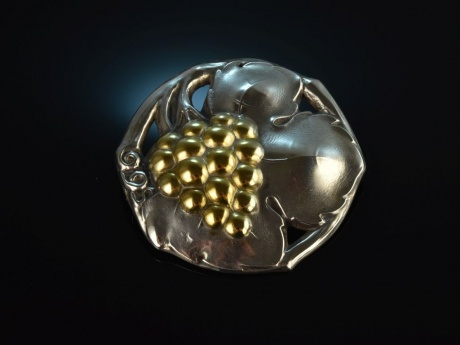 Schöne  Große Brosche  800 Silber  Schmuckperle