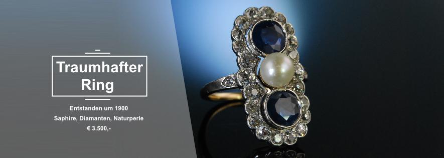 Antiker Saphir und Naturperlen Ring um 1900