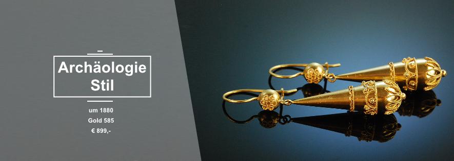 Archäologischer Stil - Ohrhänger um 1880 Gold