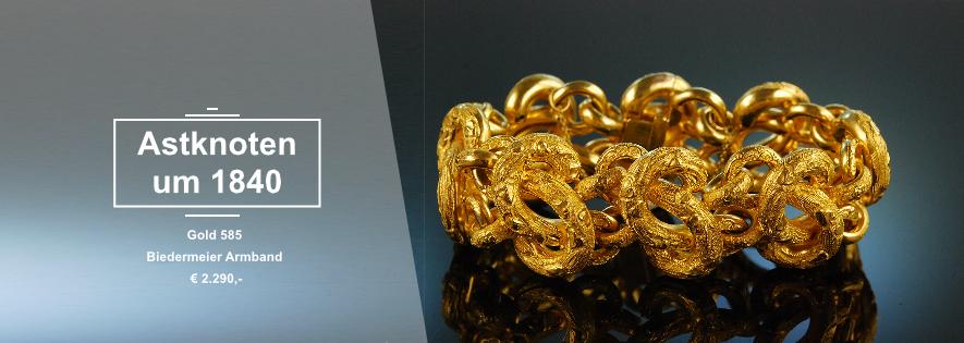 Astknotenarmband Gold um 1840