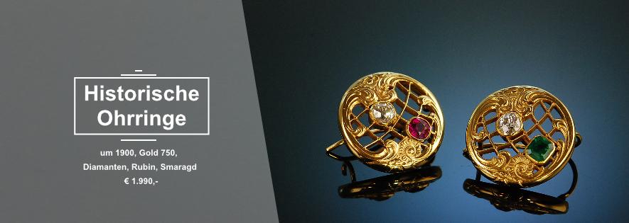 Historische Ohrringe Farbsteine und Diamanten