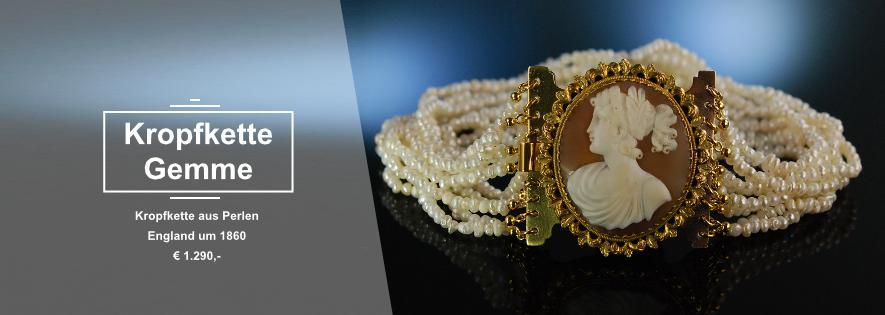 Kropfkette Perlen Gemme um 1860
