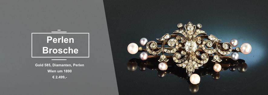 Perlen Diamant Brosche um 1900