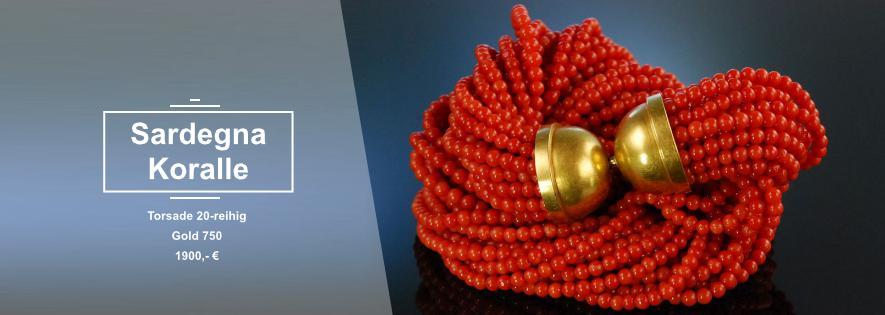 Exquisite Korallen Torsade Gelbgold 750